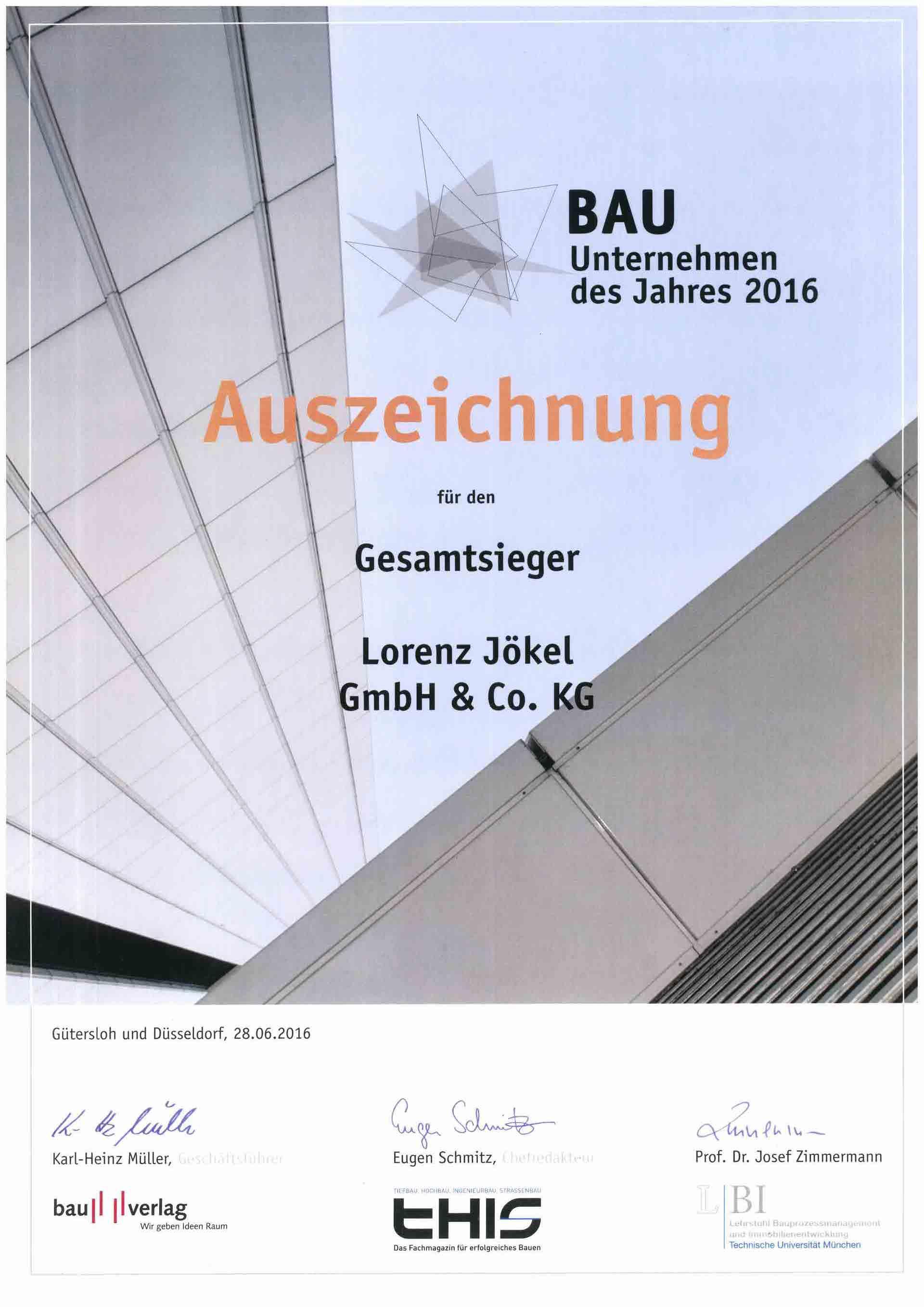 Urkunde Gesamtsieger Bauunternehmen des Jahres 2016 Lorenz Jökel