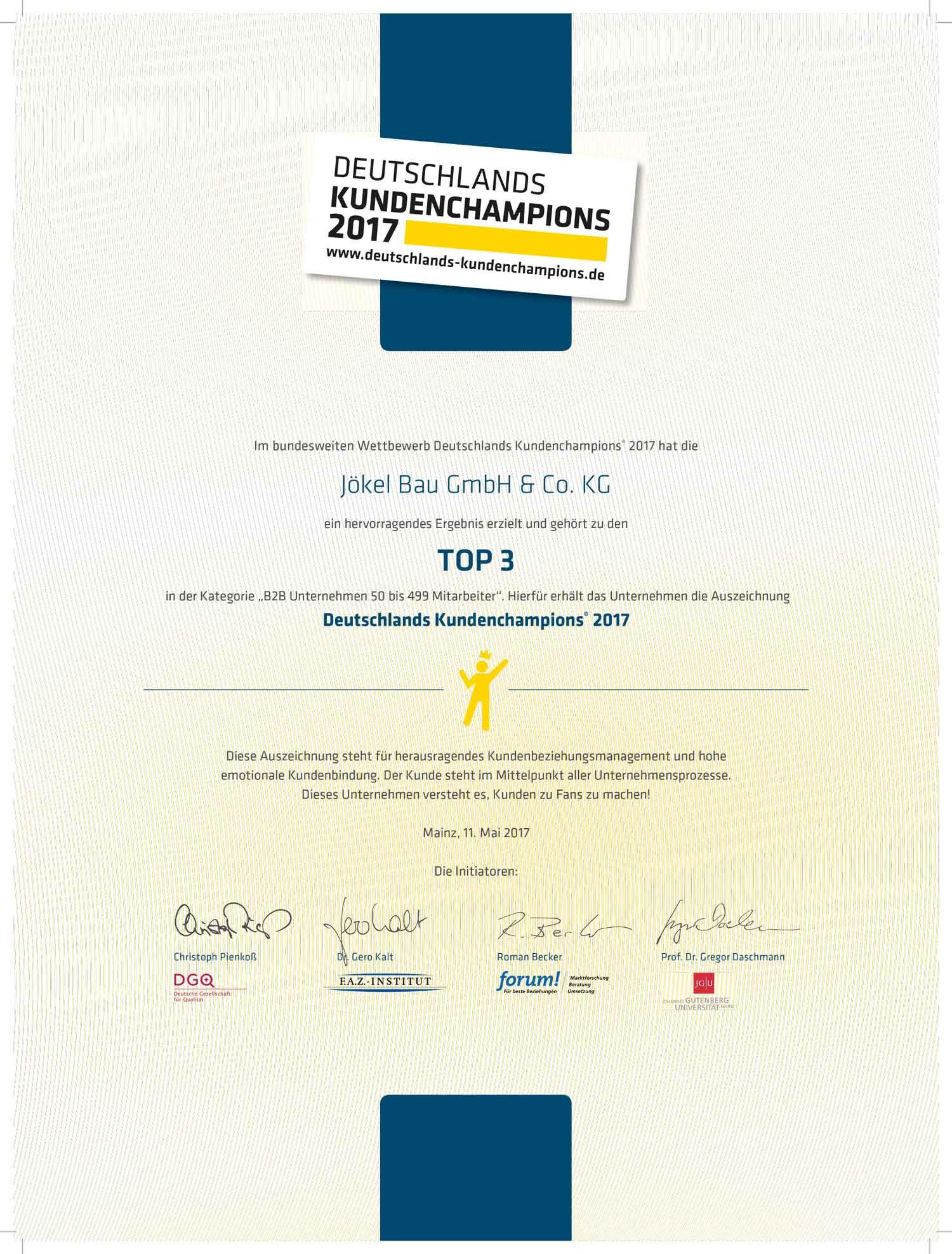 Zertifikat Deutschlands Kundenchampions Jökel Bau